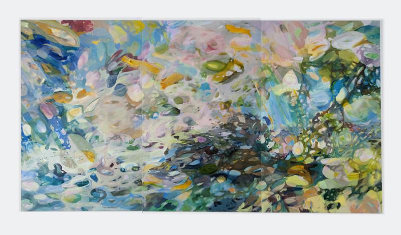 Schilderij, lyrisch abstract zeer kleurrijk en bewegelijk, een drieluik van Hanneke van der Werf